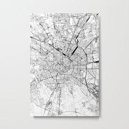 Milan White Map Metal Print