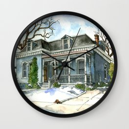 A Cozy Winter Cottage Wall Clock