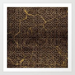 Celtic Wood Pattern with Gold Accents Art Print