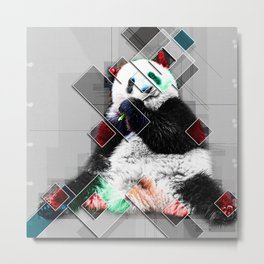 Cute colorful collage Panda Metal Print
