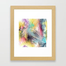 Jungle pampa colorful forest. Tropical fresh forest pattern with palms Framed Art Print