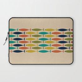 Midcentury Modern Multicolor Fish Stripe Pattern in Olive, Mustard, Orange, Teal, Beige Laptop Sleeve