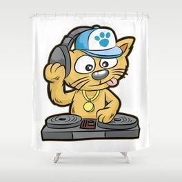 DJ CAT Cat Turntable Music MC Comic Shower Curtain