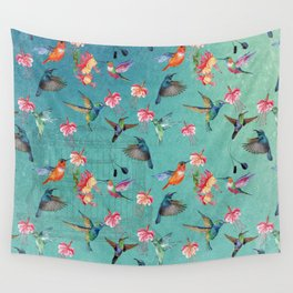 Vintage Watercolor hummingbirds and fuchsia flowers Wall Tapestry