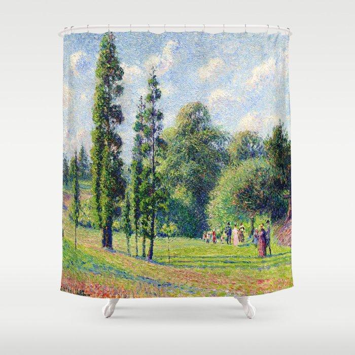 "Camille Pissarro ""Jardin de Kew, Londres, près d'un étang""(""Kew Garden, London, near a pond"") Shower Curtain"