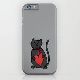 Cute Cat Holding Your Heart iPhone Case
