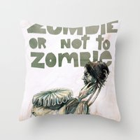 shakespeare Throw Pillows featuring Zombie + Shakespeare by Stephane Lauzon