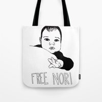 nori Tote Bags featuring FREE NORI by mememolly