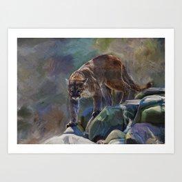 The Mountain King - Cougar Wildlife Art Art Print