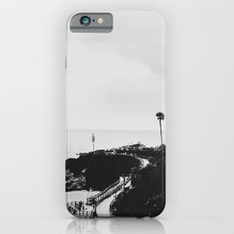 Laguna Beach | LoFi Black and White Relaxed Aesthetic Pink Sunset Palm Trees Hippie Ocean Waves iPhone Case
