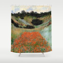 Poppy Field in a Hollow near Giverny by Claude Monet Shower Curtain