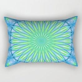Delicate mandala in blue and neon green tones Rectangular Pillow