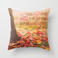 poem Throw Pillows featuring Autumn Leaves Poem by Graphic Tabby