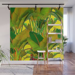 GOLDEN TROPICAL FOLIAGE GREEN & GOLD LEAVES AR Wall Mural