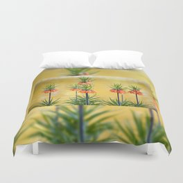 Orange lily flowers Fritillaria imperialis Duvet Cover