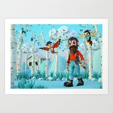 Tin Timber & The Blue Magic Forest Art Print