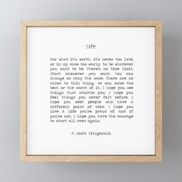 Life quote F. Scott Fitzgerald Framed Mini Art Print