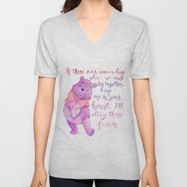 Purple Pooh Bear Unisex V-Neck