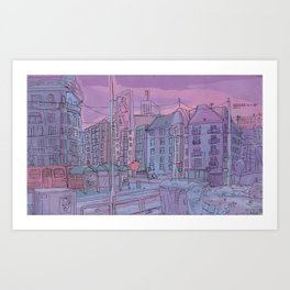 Budapest through pencil Art Print