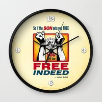 aelwen Wall Clocks featuring FREE INDEED! by Peter Gross