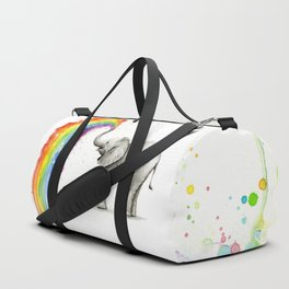 Baby Elephant Spraying Rainbow Duffle Bag