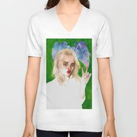 sky ferreira V-neck T-shirts featuring SKY FERREIRA PLUS PLANTS by Jethro Lacson