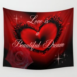 Romantic red heart, rose and text design Wall Tapestry
