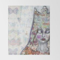 Butterfly Crown by Jane Davenport Throw Blanket
