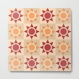 Native American inspired pattern with abstract sun symbol Metal Print