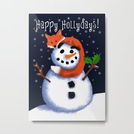 Fox and His Friend Snowman, Happy Hollydays! Metal Print