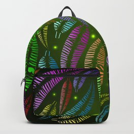 Pattern of neon feathers on a green background. Backpack