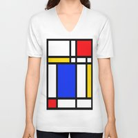 mondrian V-neck T-shirts featuring Mondrian by The Wellington Boot