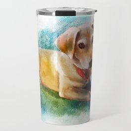 Watercolor Puppy Travel Mug