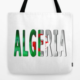 Algeria Word With Flag Texture Tote Bag