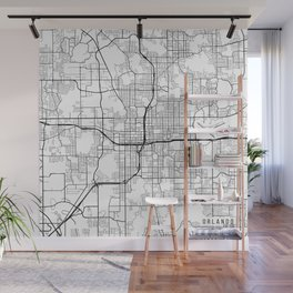 Orlando Map, USA - Black and White Wall Mural