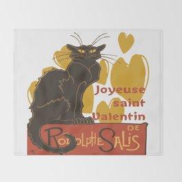 Joyeuse saint Valentin Le Chat Noir Parody Throw Blanket