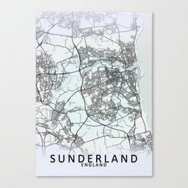 Sunderland, England, White, City, Map Canvas Print