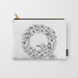 Floral Type - Letter Q Carry-All Pouch