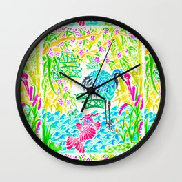 Asian Bamboo Garden in Sunset Watercolor Wall Clock