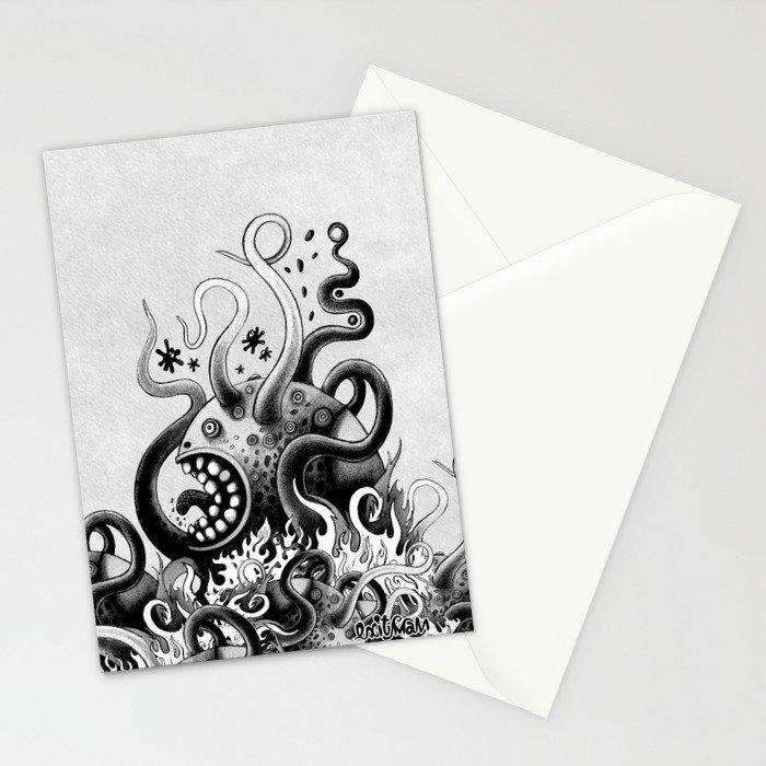 Dark Octoworm Stationery Cards