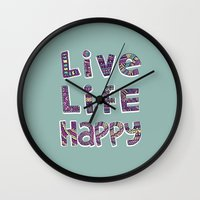 snorlax Wall Clocks featuring Live Life Happy Poster by koppen Code