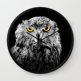 Owl photograph, black and white, with colored golden eyes Wall Clock