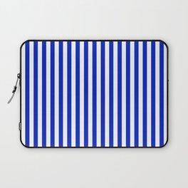 Cobalt Blue and White Vertical Deck Chair Stripe Laptop Sleeve