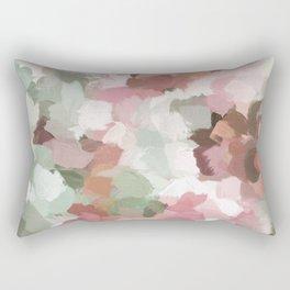 Sage Mint Green Fuchsia Blush Pink Abstract Flower Wall Art, Springtime Painting Print, Modern Wall Rectangular Pillow