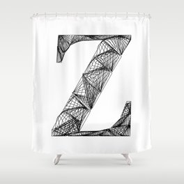 ''City Collection'' - Minimal Letter Z Print Shower Curtain