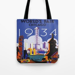 1934 Chicago World's Fair Travel Poster Tote Bag
