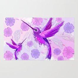 Hummingbird Spirit Purple Watercolor Rug