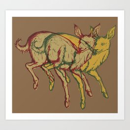 Experimental Yellow Deer Art Print