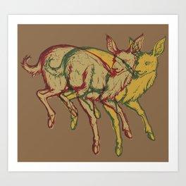 Experimental Yellow Deer Art Print