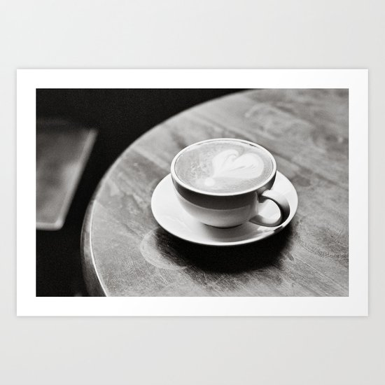 white coffee heart Art Print